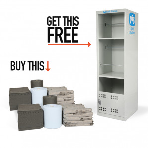 PIG® Universal Absorbents Twin-Pack with FREE Spill Station Cabinet